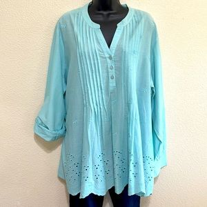 American Sweetheart Teal Lace Woman Blouse